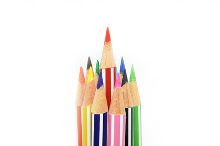individualist: Red color pencil standing out from others