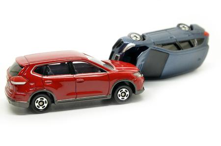 Cars accident crash isolated on white background Stock Photo