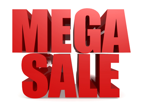 Red mega sale word isolated, 3D rendering