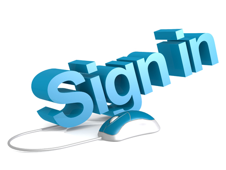 Sign in word with blue mouse, 3D rendering Stock Photo