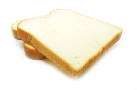 carbohydrates: Sliced white bread isolated on white background Stock Photo