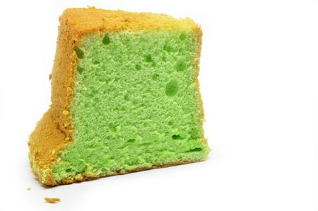 Pandan chiffon cake isolated on white background Stock Photo
