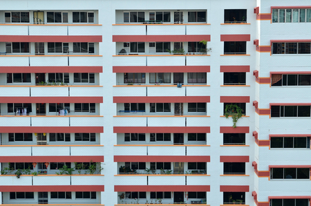 SINGAPORE-APR 24, 2017:  Singapore residential housing estate with apartment blocks against a cloudy sky