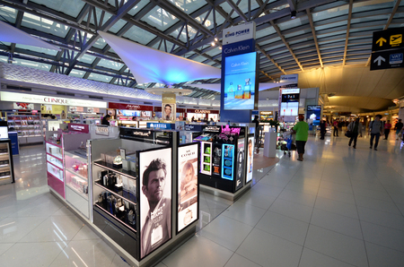 BANGKOK, THAILAND- MAY 16, 2017: Unidentified people shop at duty free cosmetics boutiques at the International Airport Suvarnabhumi which is the sixth busiest airport in Asia.