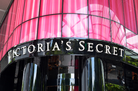 retailer: SINGAPORE- MAY 01, 2017: Victorias Secret store along Orchard Road, Singapore. Victorias Secret is the largest American retailer of lingerie Editorial