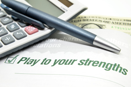 Play to your strengths printed on book