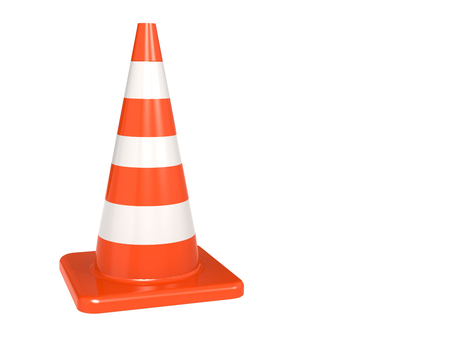 Isolated orange white traffic cone, 3D rendering Фото со стока