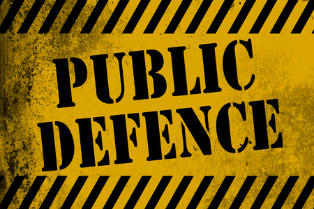 Public defence  sign yellow with stripes, 3D rendering Stock Photo