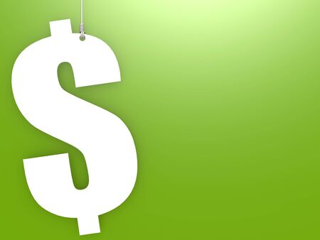Dollar sign hang with green background, 3D rendering