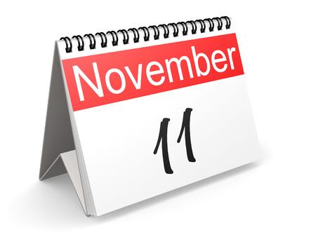 11 de noviembre en calendario rojo y blanco, representación 3D Foto de archivo - 80171918