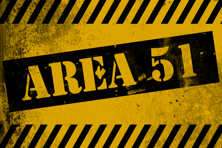 trespass: Aea 51 sign yellow with stripes, 3D rendering