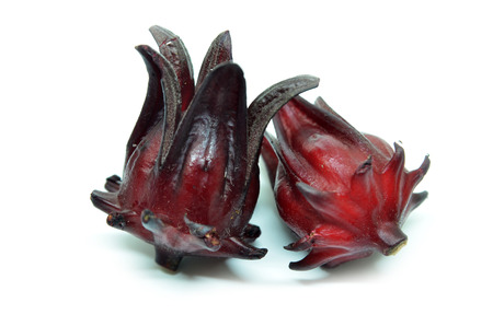 sepals: Hibiscus sabdariffa or roselle fruits isolated on white