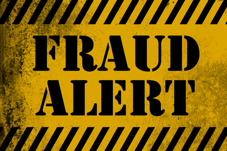 Fraud Alert sign yellow with stripes, 3D rendering
