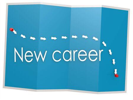 New career word on blue map, 3D rendering