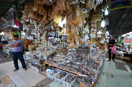 KOTA KINABALU, MALAYSIA- 24 JUN 2017: Salted fish,anchovy and seafood products at Filipino Market,Kota Kinabalu,Sabah.Filipino Market is very popular shopping places for not only the locals but also the tourists.