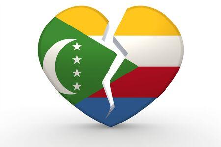 Broken white heart shape with Comoros flag, 3D rendering