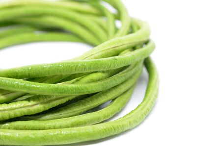 long bean: Bunch of fresh long bean isolated on white background Stock Photo