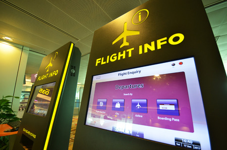SINGAPORE- JUN 18, 2017: Flight info panel at Changi Airport, Singapore. Singapore airport provides the best shopping experience to the passengers.