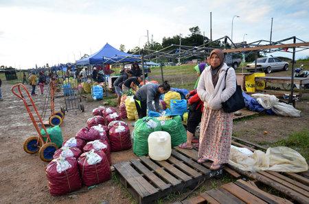 KUNDASANG, MALAYSIA- JUN 29, 2017: View of farmers market in Kundasang, Sabah. Farmers market can be found throughout Sabah especially in the rural areas. Editorial