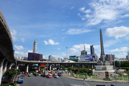 BANGKOK, THAILAND- 19 MAY, 2017: Transport traffic in Victory Monument, Bangkok. Annually an estimated 150,000 new cars join the heavily congested roads of Bangkok. Editorial