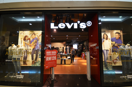levi: KOTA KINABALU, MALAYSIA- 29 JUN, 2017: Levis store in Suria Sabah Shopping Mall, Sabah. Levi Straussis a privately held American clothing company known worldwide Editorial