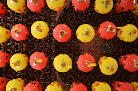 Colorful of lantern in Chinese Temple Penang, Malaysia. Kek Lok Si Temple Place of worship. Chinese writting on the Buddha blessing on the lantern
