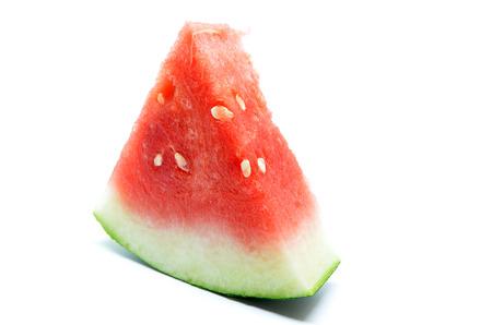 sliced watermelon: Slice of watermelon. Fresh summer fruit on white background Stock Photo