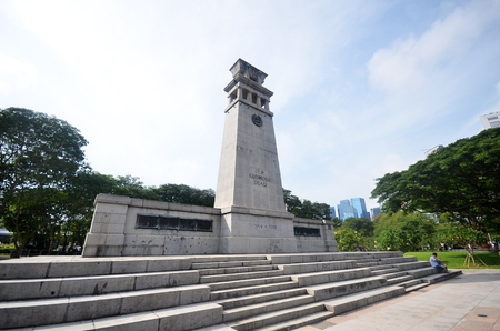 SINGAPORE- 21 JULY 2017: View of The Cenotaph in Singapore. The Cenotaph is a war memorial located within the Esplanade Park. Sajtókép
