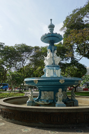 SINGAPORE - AUGUST 20, 2017: Tan Kim Seng Fountain in Singapore. This is a beautiful Victorian fountain built in recognition of Tan Kim Seng, a prominent Chinese community leader and philanthropist.