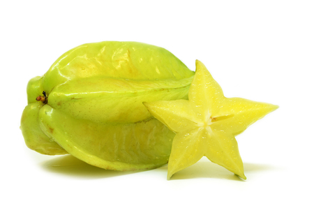 Star fruit carambola or star apple isolated on white background