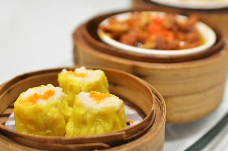 Chinese dim sum Shumai - Steamed Chinese groumet cuisine Stock Photo