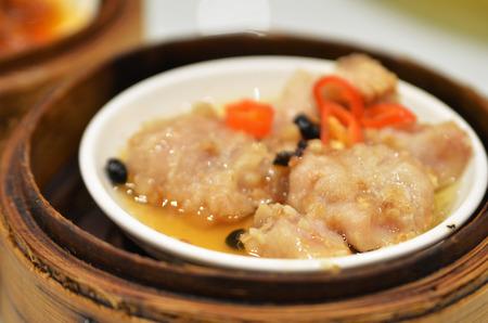 Chinese dim sum Black bean steamed pork ribs Stock Photo