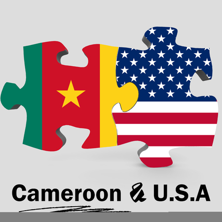 USA and Cameroon Flags in puzzle isolated on white background, 3D rendering Stock Photo