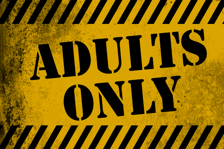 Adults only sign yellow with stripes, 3D rendering