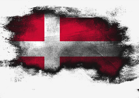 Denmark flag painted with brush on white background, 3D rendering