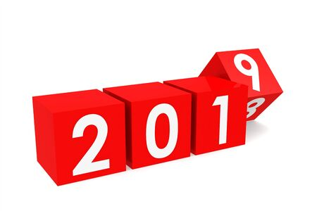 Year 2019 on the red cubes, isolated on white, 3D rendering Stock Photo