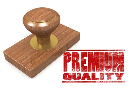 Red premium quality wooded seal stamp, 3D rendering