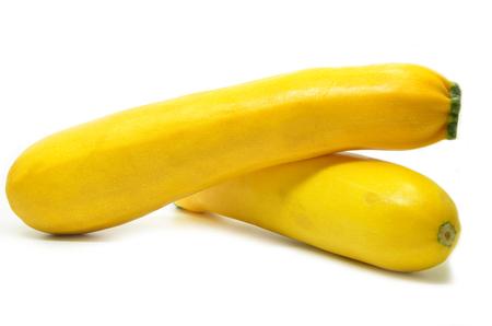 Gele pompoen die op witte achtergrond wordt geïsoleerd Stockfoto
