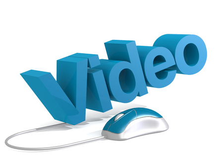 Video word with blue mouse, 3D rendering