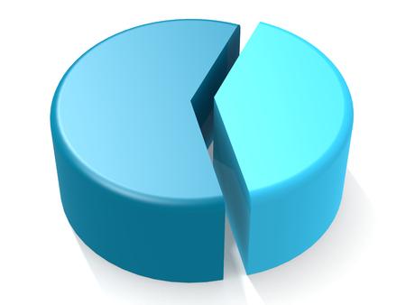 40 %의 파란색 원형 차트, 3D 렌더링