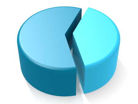 Blue pie chart with 40 percent, 3D rendering Stok Fotoğraf
