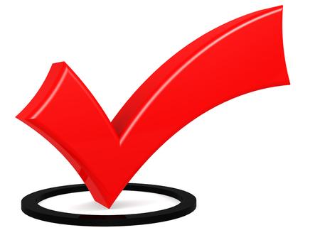 Signe de coche rouge isolé, rendu 3D Banque d'images