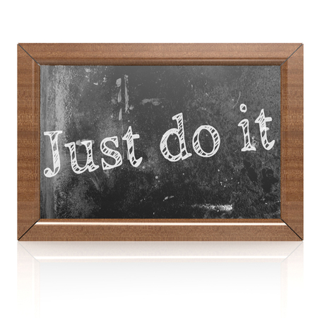 Just do it written on blackboard, 3D rendering
