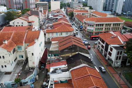 SINGAPORE- NOV 11, 2017: Arial view of Little India district in Singapore. Little India is Singaporean neighbourhood east of the Singapore River.