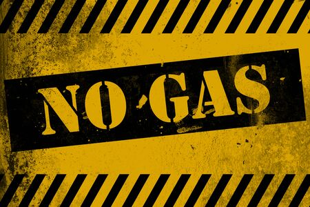 No gas sign yellow with stripes, 3D rendering