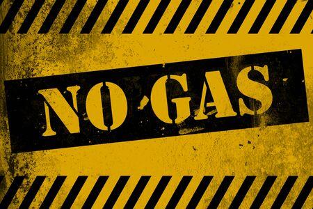 No hay señal de gas amarilla con rayas, representación 3D Foto de archivo - 90839895