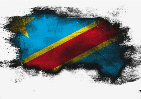 Democratic Republic of the Congo flag painted with brush on white background, 3D rendering Stock Photo
