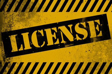 License sign yellow with stripes, 3D rendering