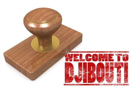 Red rubber stamp with welcome to Djibouti image with hi-res rendered artwork that could be used for any graphic design.