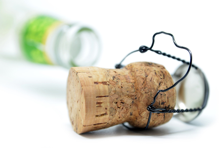 Cork from champagne bottle, isolated on the white background